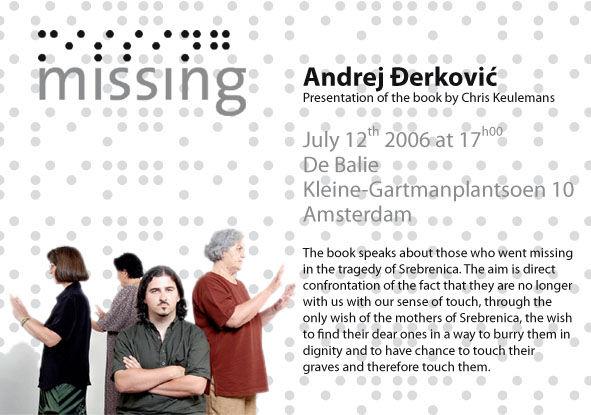 Pozivnica Missing, De Balie, Amsterdam,