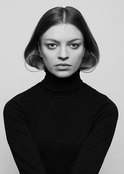 Kiia-Bettina, Black and white portrait taken in studio