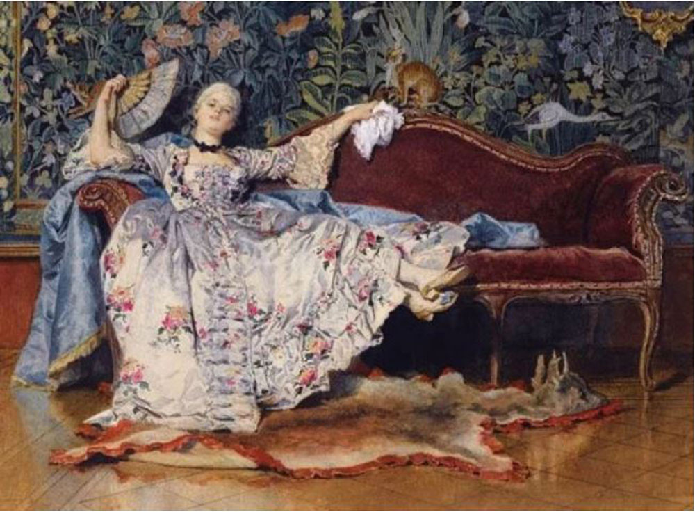 PAINTING OF HIGH CLASS LADY ON CHAISE LOUNGE WITH HAND FAN ציור עתיק עם מניפת יד