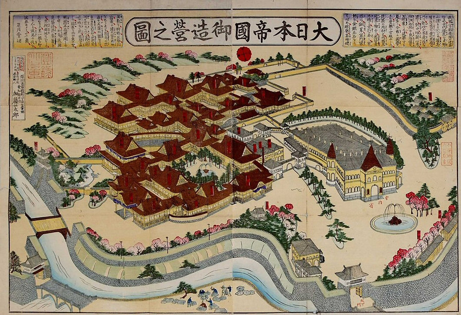 Japanese Imperial Gardens old map