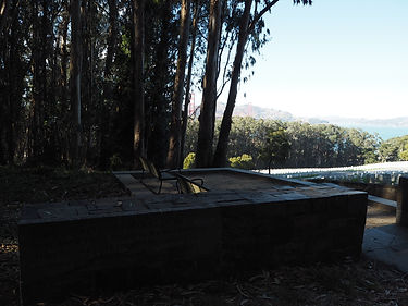 lookout bench in San Francisco National Cemetery Presidio