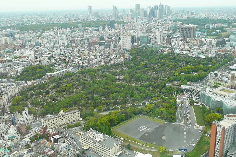 Aoyama Cemetery In Tokyo ariel view