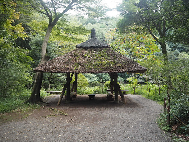 Meiji Shrine Tokyo, Japan hut with benches