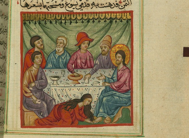Mary washing Jesus' feet