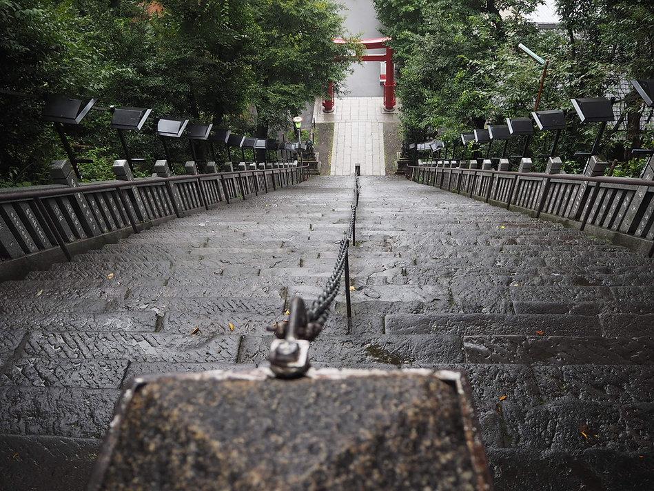 atago-jinja japanese shinto shrine minato tokyo torii gate and steps from top