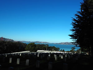 Presidio's San Francisco National Cemetery overlooking the Bay