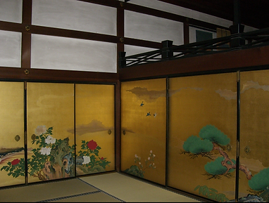 shunko-in buddhist temple kyoto japan sliding screen art