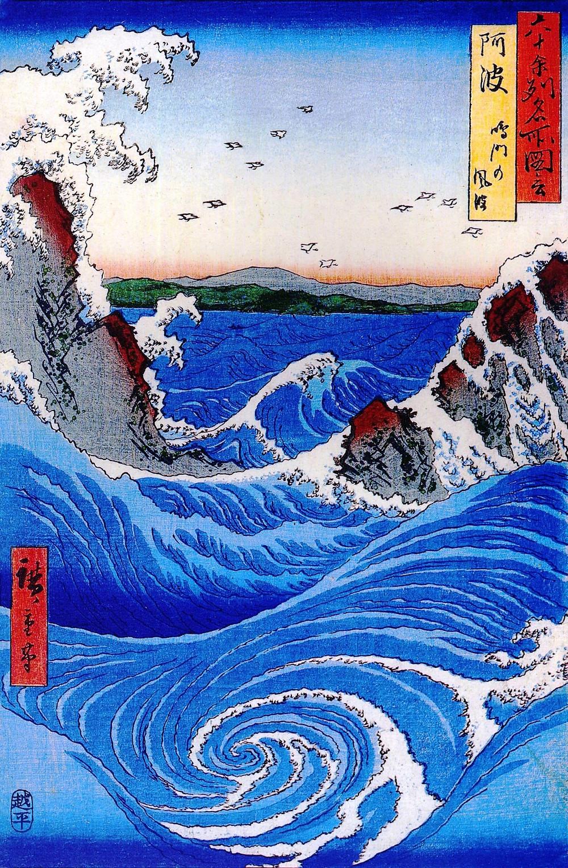 Hiroshige Japanese woodblock of wave
