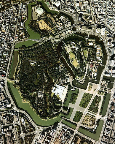 Japanese Imperial Gardens aerial view