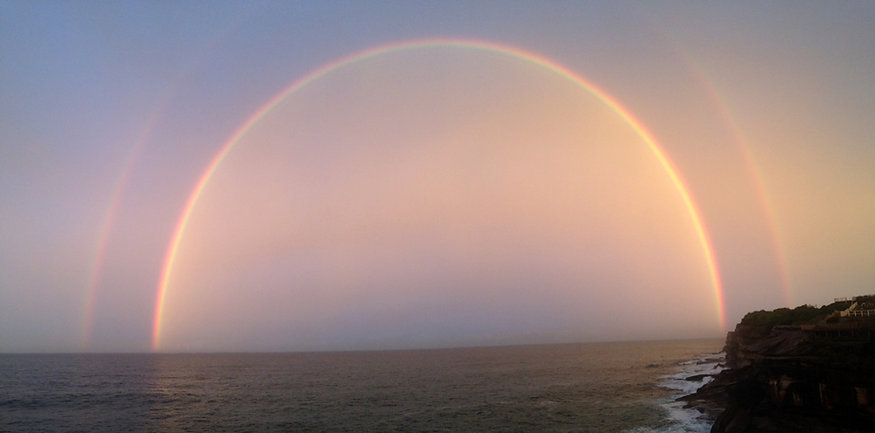 meditate at bondi to bronte trail walk double rainbow