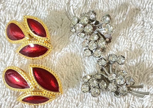 Two Pair of Vintage Costume Jewelry Clip Earrings