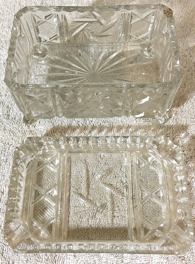Vintage Footed Pressed Glass Cigarette Box
