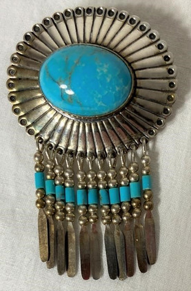 Sterling and Turquoise Pendant/Brooch Combo