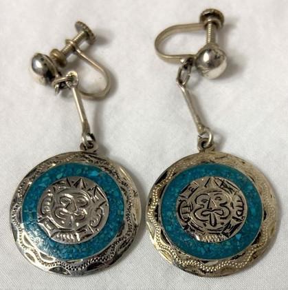 Older Pair of Dangle Zuni Inlay Earrings
