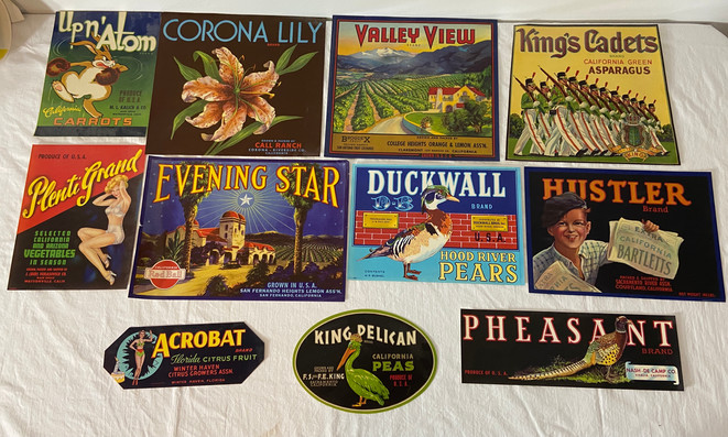 11 Vintage Vegetable and Fruit Crate Labels