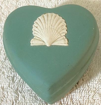 Vintage Wedgwood Green Heart Shaped Trinket Box