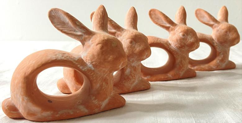 4 Terra Cotta or Ceramic Rabbit Napkin Rings