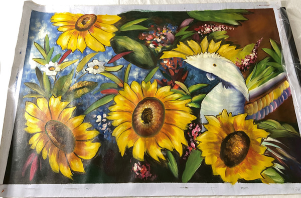 Oil On Canvas of a White Parrot and Sunflowers