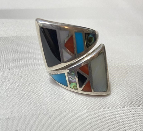 Mosaic Inlay Ring  In Sterling Silver Setting