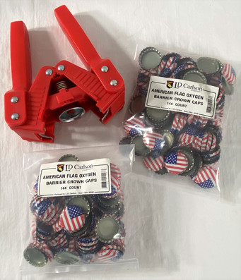 American Flag Bottle Caps and Capper