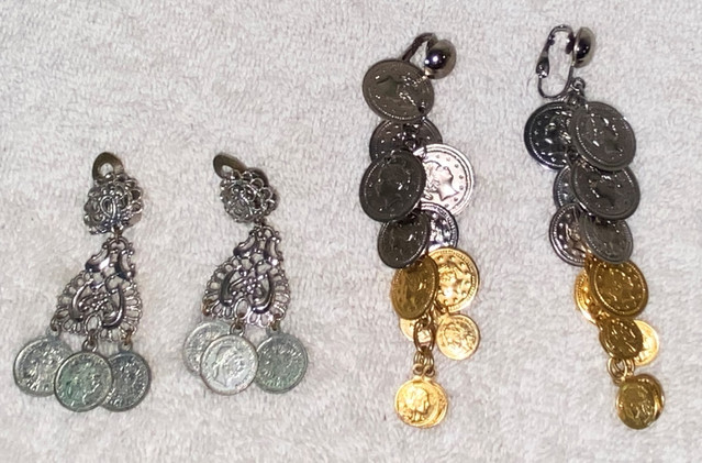 Two Pair of Vintage Coin Style Clip Earrings