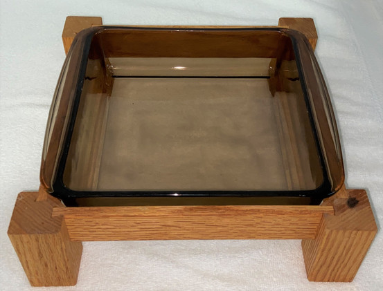 Vintage Pyrex Amber Baking Dish with Wood Stand