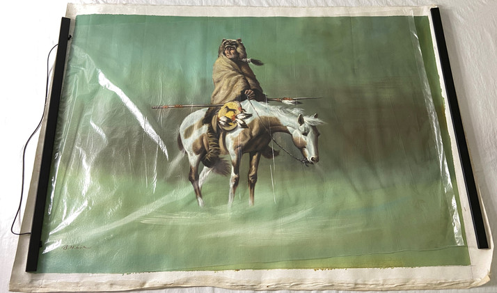 Oil Painting of a Warrior Wrapped in a Blanket