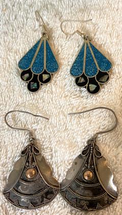 Two Pair Earrings Sterling and Alpaca