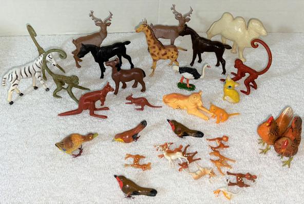 Lot Vintage Plastic Animals