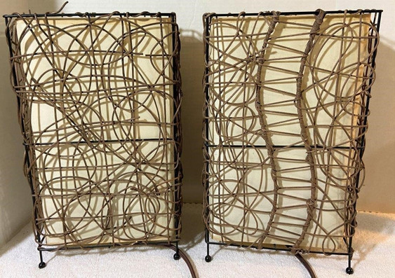 MCM Vine Covered Lamps With Metal Frames