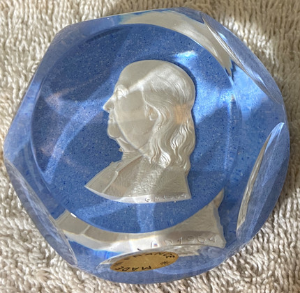 1955 Baccarat Ben Franklin Crystal Paperweight