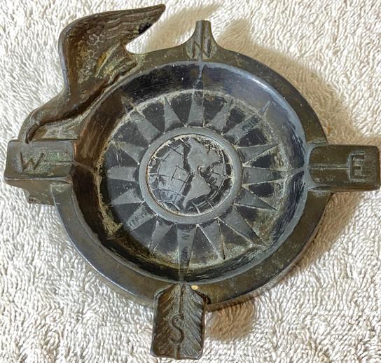 Vintage Bronze Eagle Ashtray