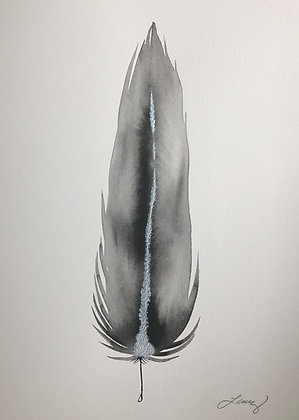 Grey/ Silver/ Black Small Feather