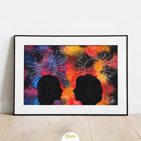 Deux sœurs - Illustration aquarelle - Claire Dujardin