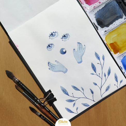 Bleu - Illustration aquarelle - Claire Dujardin