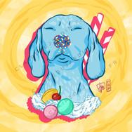 Illustration d'un chien avec des sucreries par Claire Dujardin, illustratrice freelance à Annecy