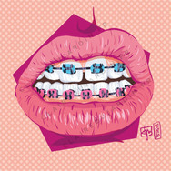 Illustration colorée d'une bouche avec des bagues - graphiste web Claire Dujardin