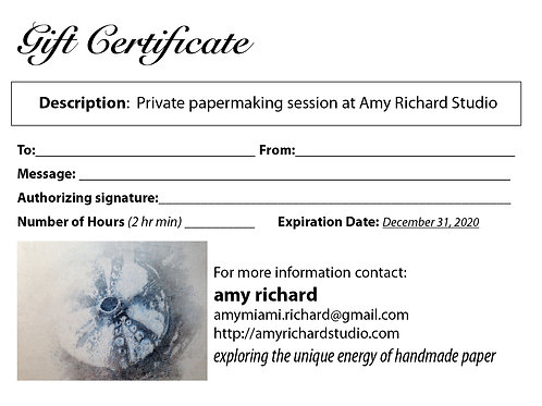 GIFT CERTIFICATE FOR PRIVATE LESSON