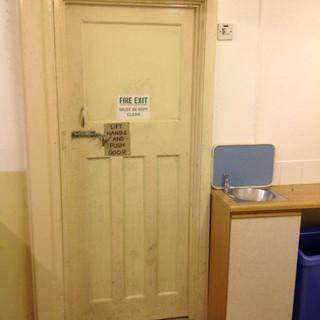 SSQ parish hall fire exit pre-renovation