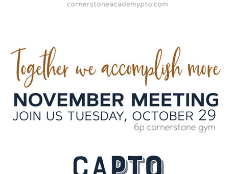 November Meeting (in October!)