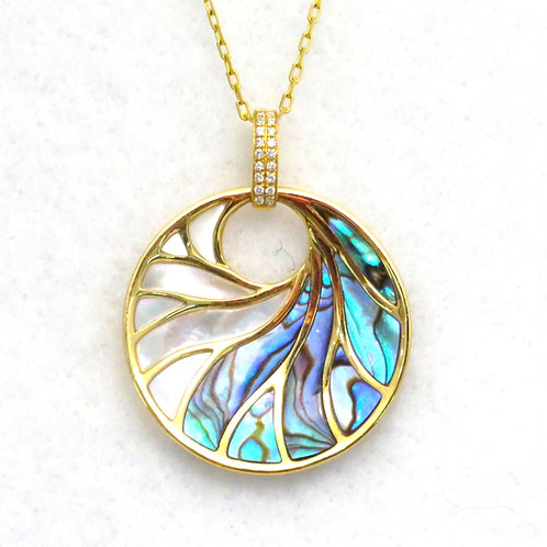 MOTHER OF PEARL & ABALONE INLAY PENDANT NECKLACE