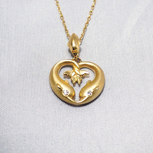 TWO DOLPHIN HEART PENDANT WITH CHAIN