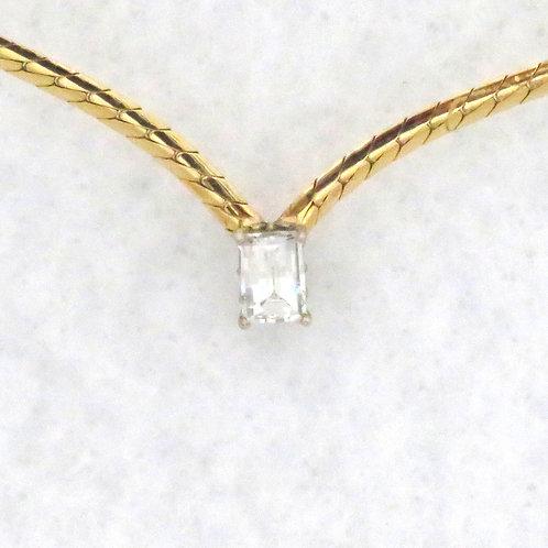 RECTANGULAR DIAMOND SOLITAIRE NECKLACE