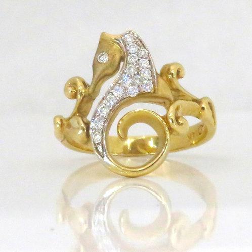 14K YELLOW GOLD SEAHORSE RING
