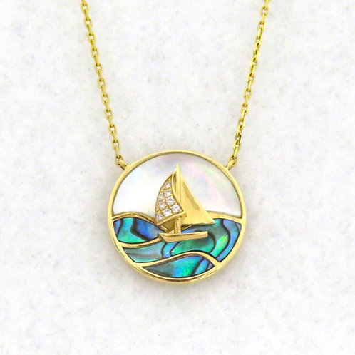 MOTHER OF PEARL & ABALONE SAILBOAT