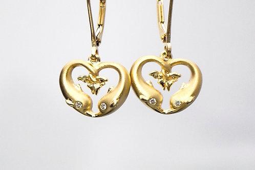 TWO DOLPHIN HEART EARRINGS