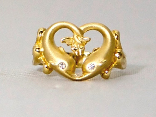 TWO DOLPHIN HEART RING