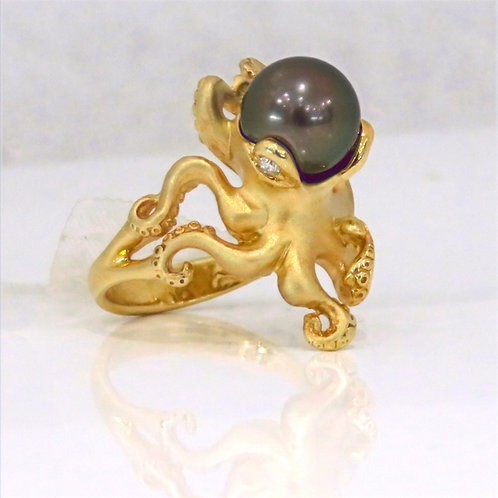 14K YELLOW GOLD OCTOPUS RING