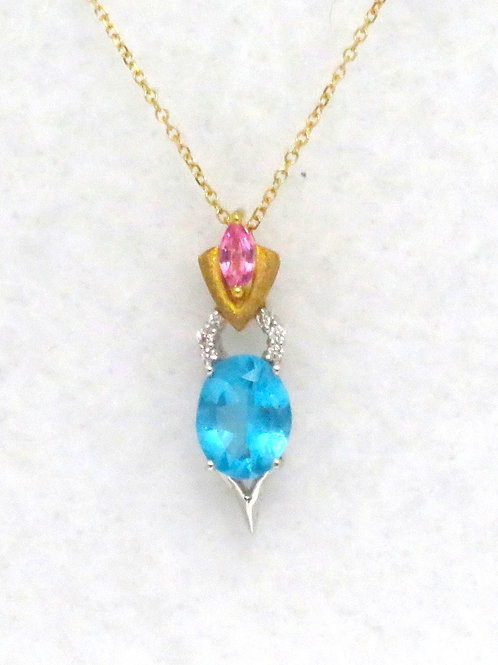 APATITE & PINK SAPPHIRE NECKLACE