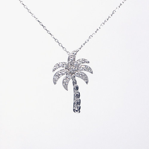 White Gold Palm Tree Pendant and Chain